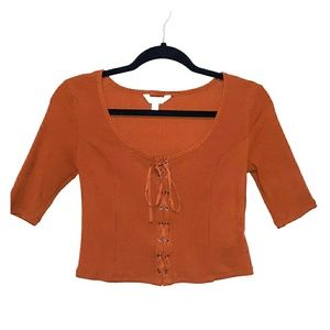 MOVING SALE NWOT brown lace up blouse